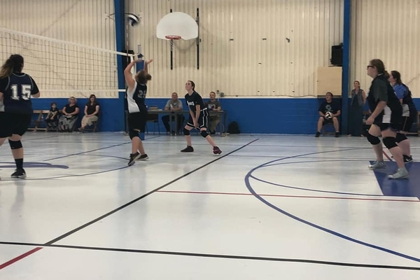 Volleyball team during game
